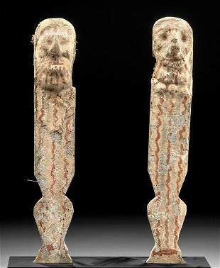 Egyptian Late Dynastic Painted Wood Chair Legs pr
