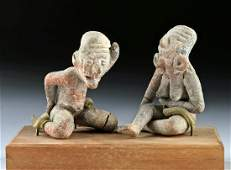 Pair of Xochipala Pottery Seated Elderly Figures