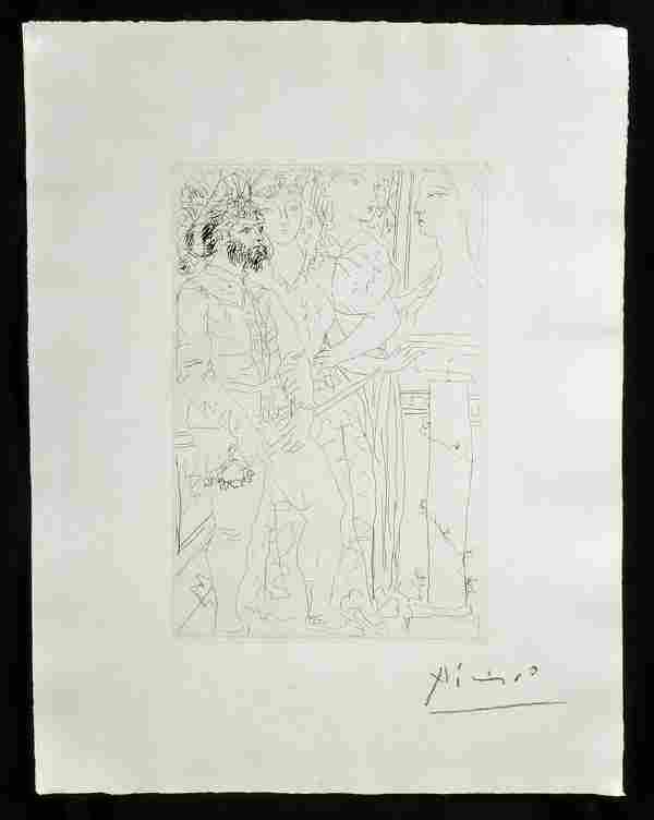 Signed Picasso Etching - Vollard Suite #145
