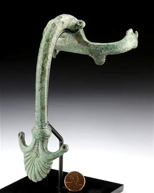 Roman Bronze Handle with Boar Terminals