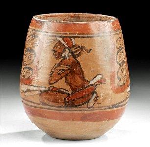 Maya Polychrome Jar w/ Seated Dignitaries, ex-Harmer