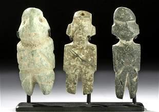 Lot of 3 Mezcala Greenstone Standing Figures