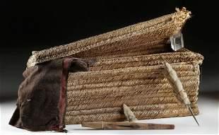 Huge Chancay Textile Weavers Basket