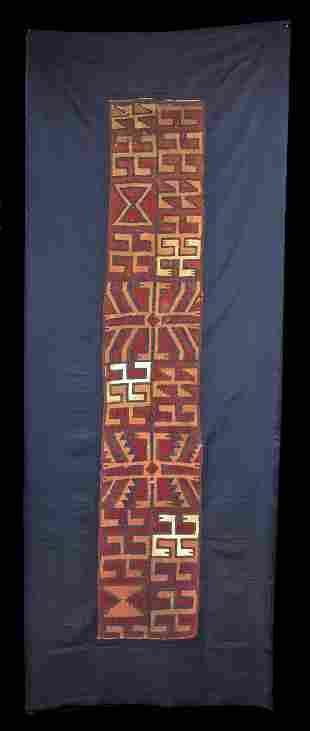 Colorful Proto Nazca Textile Turbante w Swastikas