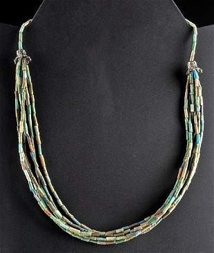 Egyptian Faience Bead Necklace Multi-Strand