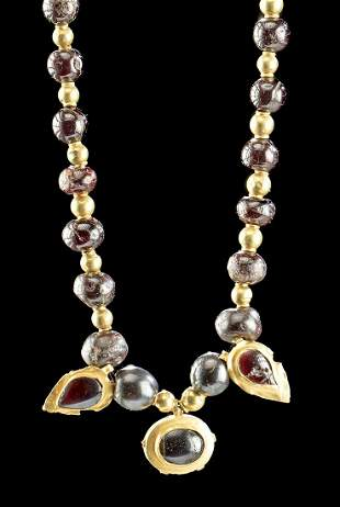 Greek Hellenistic 18K+ Gold & Garnet Bead Necklace