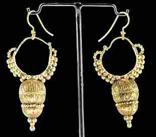 Gorgeous / Wearable Roman 15K+ Gold  Earrings (pr)