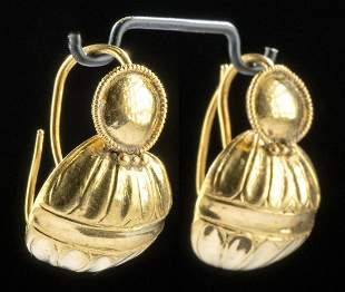 Roman 22K+ Gold Domed Earrings (pr)