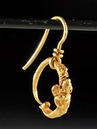 Roman 22K+ Gold Earring with Eros