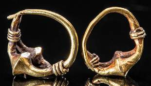 Roman 15K+ Gold Hoop Earrings (pr)