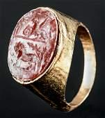 Roman 18K Gold Ring Carnelian Intaglio Winged Griffin