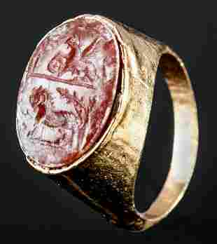 Roman 18K+ Gold Ring Carnelian Intaglio Winged Griffin