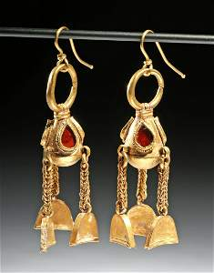 Published Parthian Gold & Carnelian Earrings (pr)