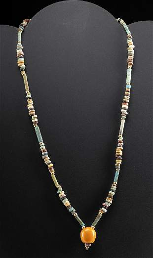 Egyptian Faience Bead Necklace w/ Carnelian Pendant