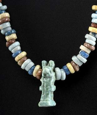 Egyptian Faience Necklace w/ Unut or Wepuat Amulet