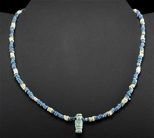 Egyptian Faience Necklace w/ Thoth Amulet