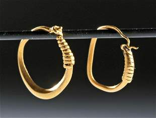 Roman 22K+ Gold Hoop Earrings (pr)