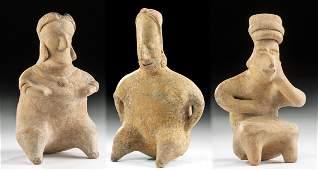 Lot of 3 Colima  Nayarit Pottery Seated Figures