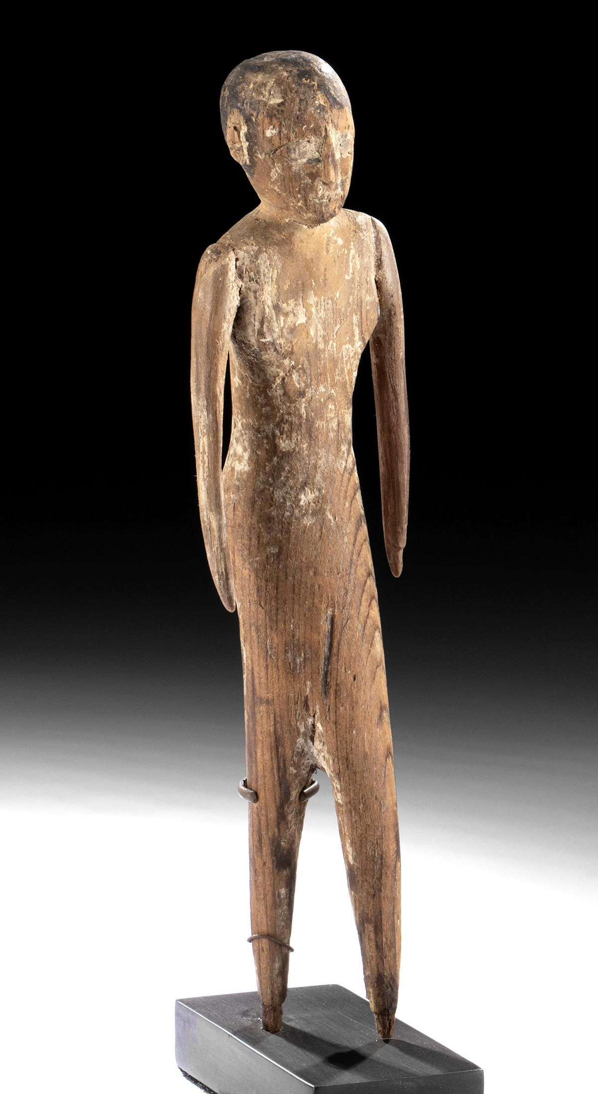 Egyptian Painted Gesso / Wood Striding Servant Figure