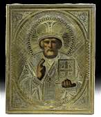 19th C Russian Icon St Nicholas w Gilt Brass Oklad