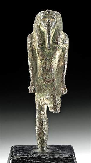 Egyptian Late Dynastic Bronze Figure - Striding Pharaoh