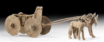 Fine Anatolian Bronze Toy Chariot w/ Oxen