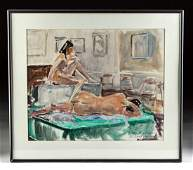 Framed Draper Painting, Nudes at Century Class, 1970s