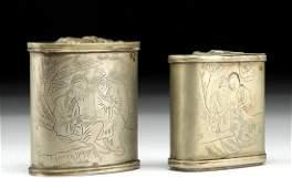 19th C Chinese Brass Snuff Boxes w Erotic Scenes pr