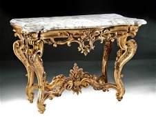 Ornate 18th C Italian Gilt Console Table w Marble Top