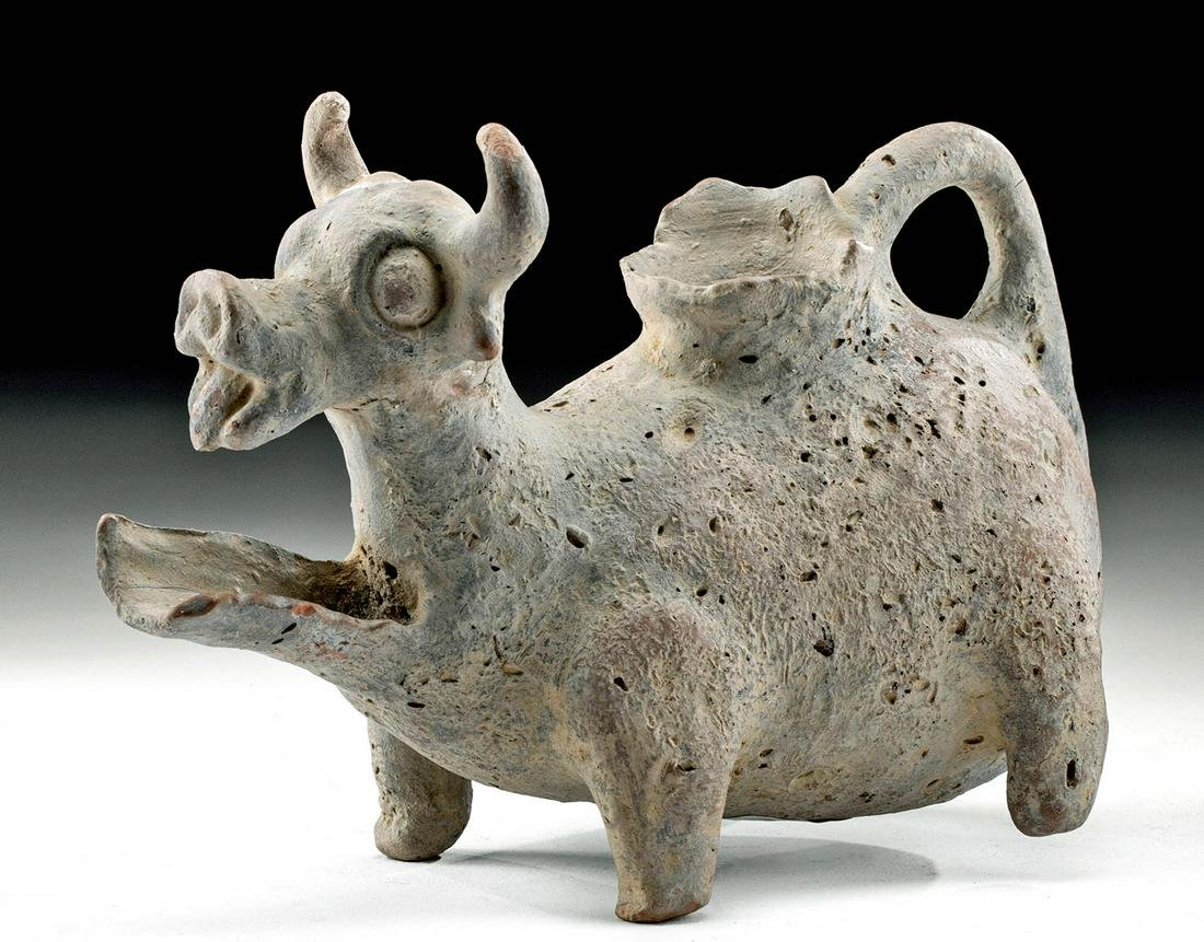 Holy Land Judea Pottery Spouted Bull Vessel