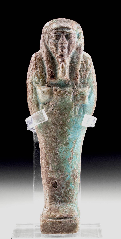 Egyptian Late Dynastic Glazed Faience Ushabti