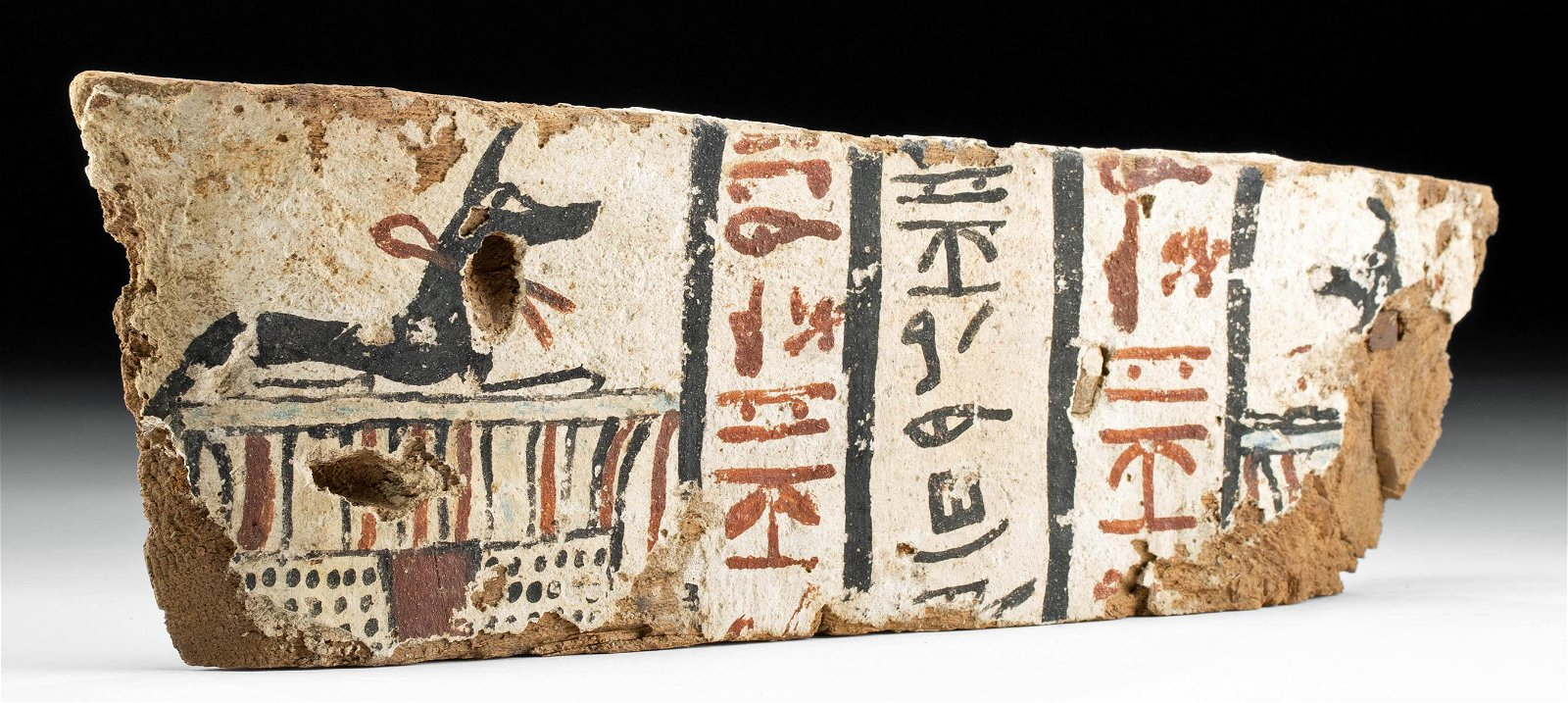 Egyptian Wood & Painted Gesso Coffin Fragment w/ Anubis