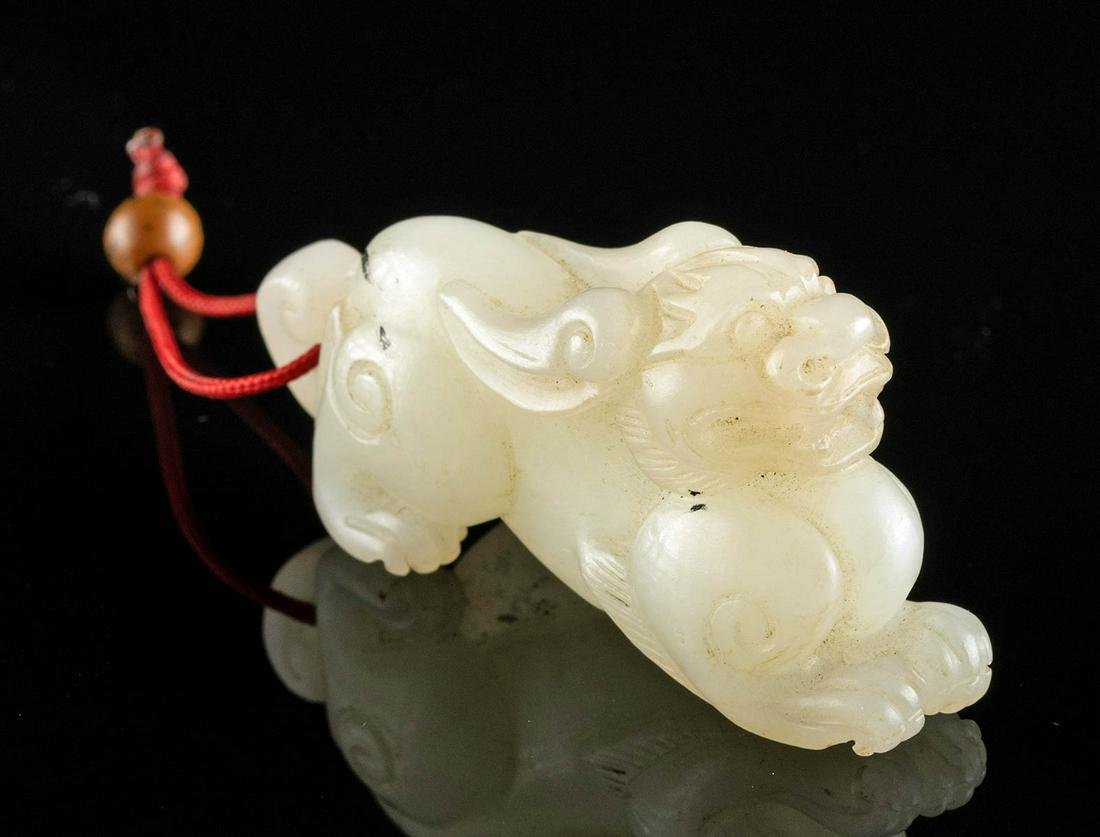 19th C. Chinese Qing Dynasty Jade Amulet, Foo Dog