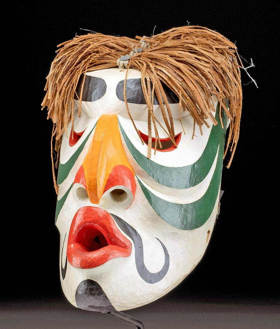 20th C. Pacific Northwest Wood Mask - Human / Puffin