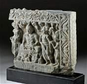Gandharan Schist Relief Panel  Buddha  Attendees