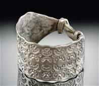 Viking Silver Ring w Stamped Motif  54 g