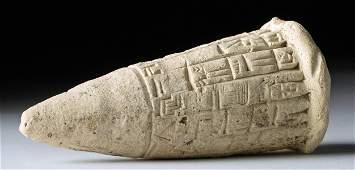 Sumerian Pottery Cuneiform Foundation Cone