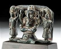 16th C Indian Steatite Stone Ganesha  Attendants
