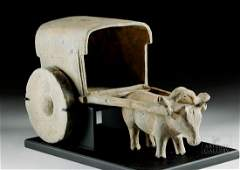 Chinese Han Dynasty Pottery Cart w Ox Pulling
