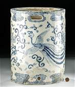19th C. Chinese Qing Blue / White Porcelain Cylinder