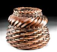 19th C Japanese Meiji Woven Bamboo Basket