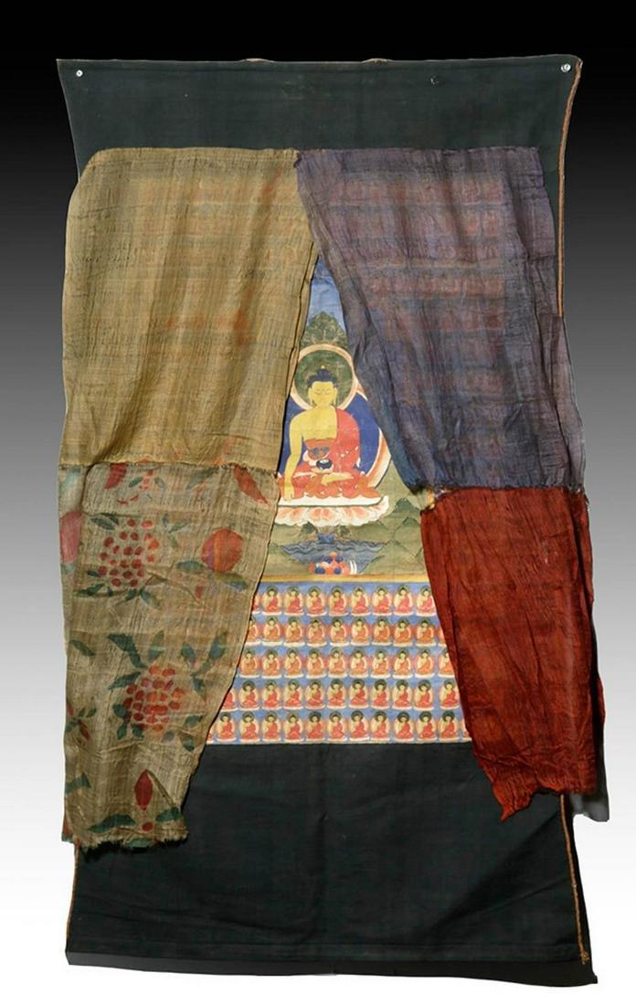 19th C. Tibetan Silk Thangka -Shakyamuni / Buddhas