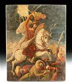 19th C. Mexican Painting - Santiago the Moor Slayer