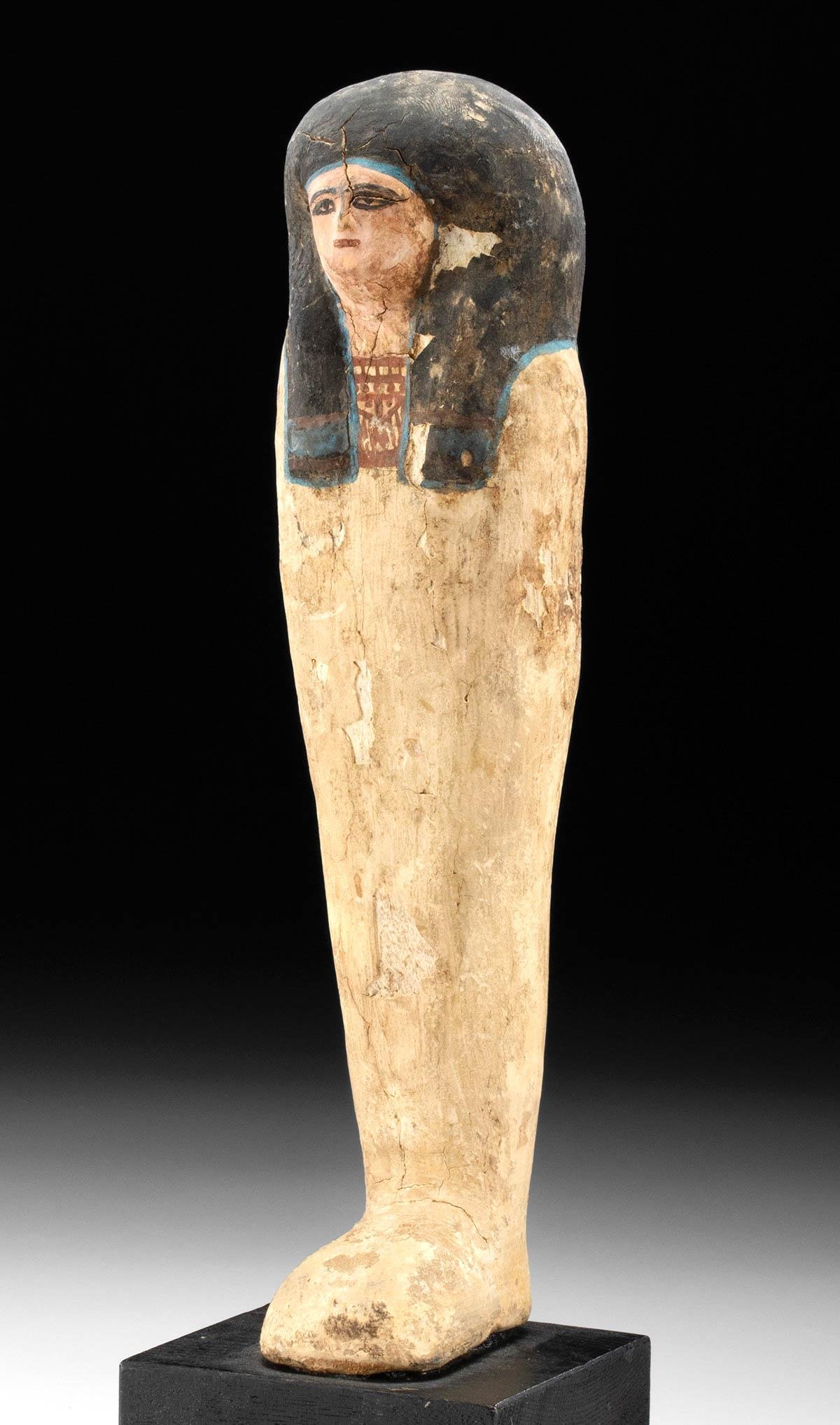 Egyptian Polychrome  Plastered Wood Sarcophagus Figure
