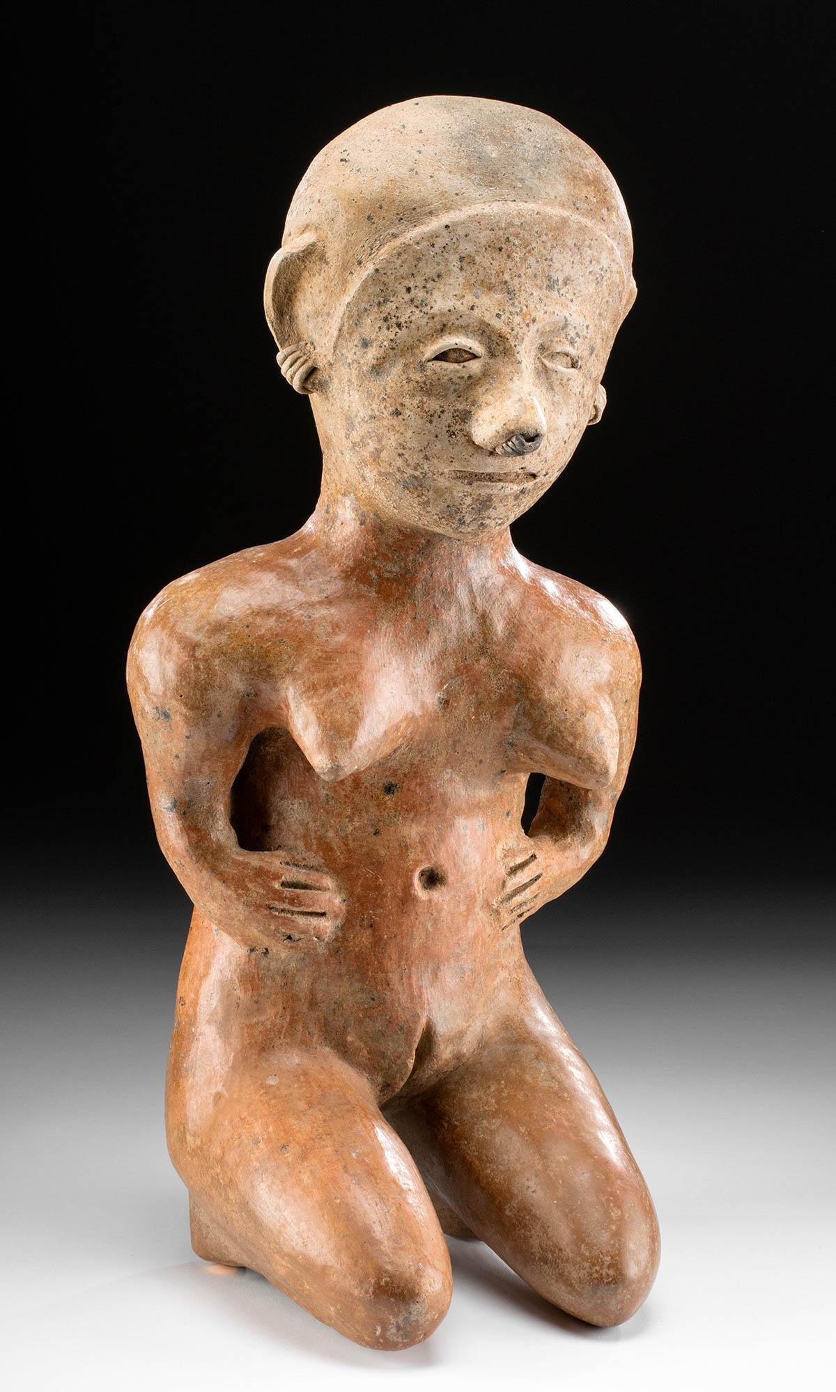 Very Large Chinesco Pottery Kneeling Female Figure