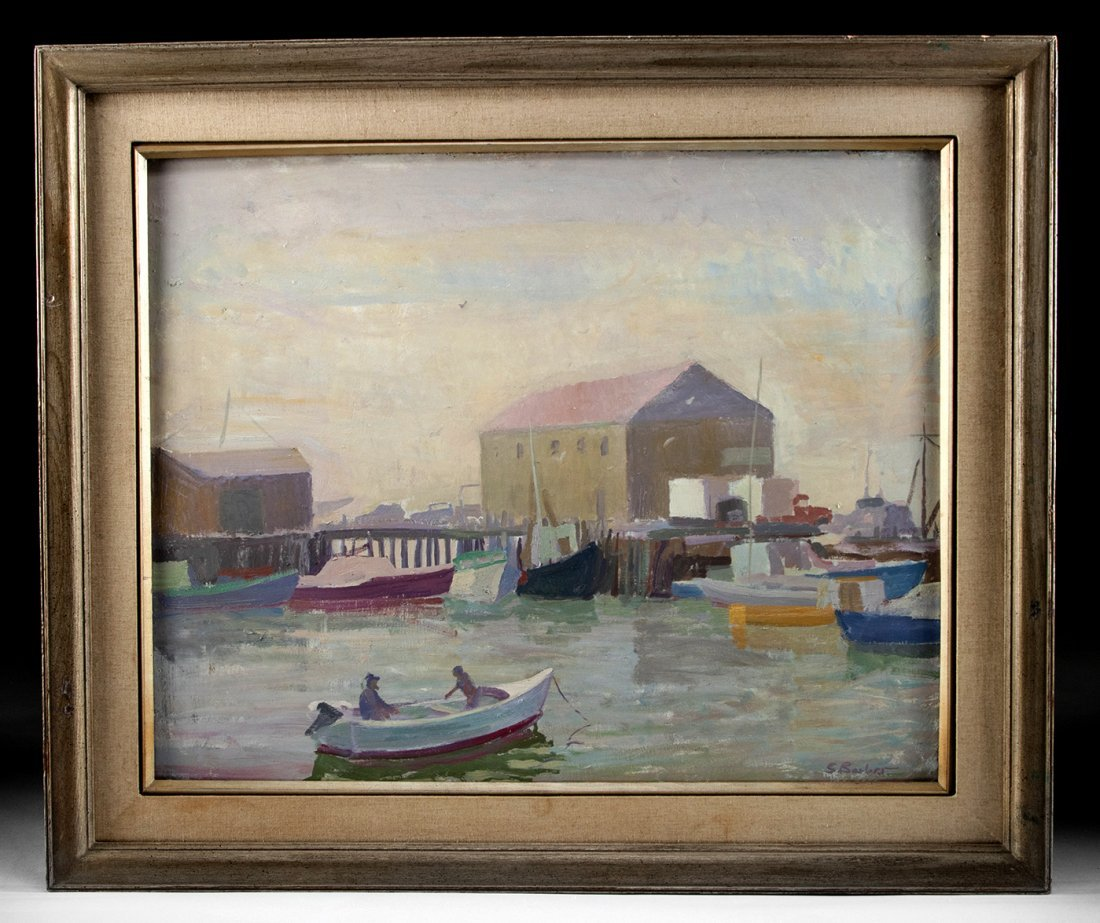 Framed Signed Sam Barber Marina Painting, ca. 1960s