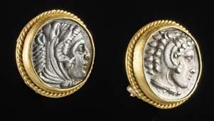 Greek Silver Alexander Coins Earrings Gold Setting
