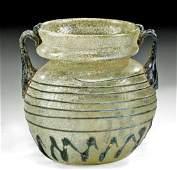 Roman Glass Jar Cobalt Blue Trailed Decorations