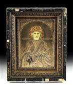 19th C Russian Brass Oklad St Nicholas w Gilt Crown