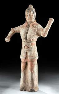 Chinese Tang Dynasty Polychrome Warrior Figure w/ TL